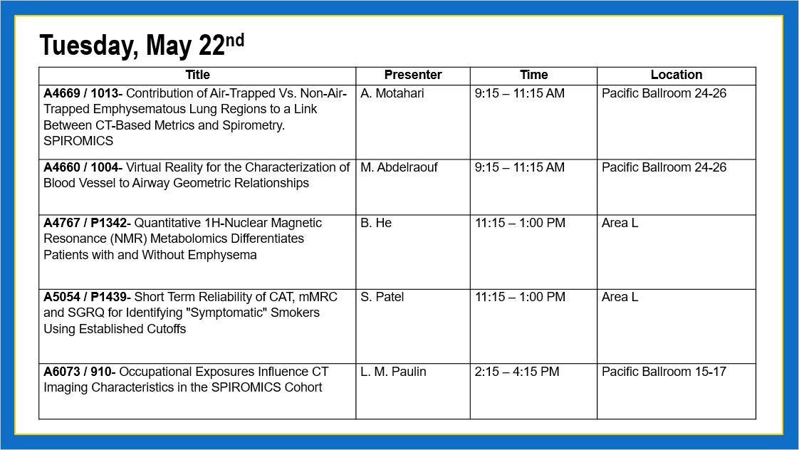 American Thoroactic Society 2018 - SPIROMICS schedule